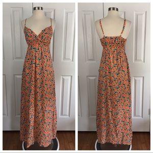 Splendid Orange Floral Printed Maxi Dress